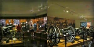 An Assortment of Civil War cannons are displayed
