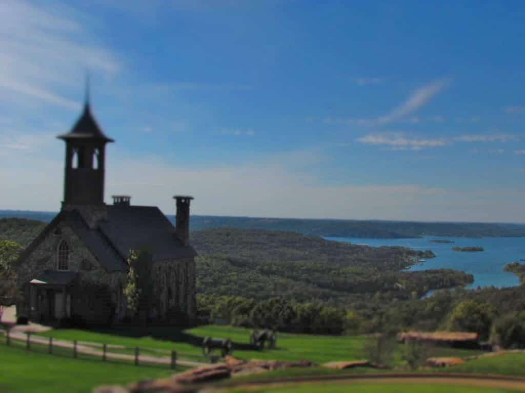 A beautiful chapel sits atop a ridge above Table Rock Lake.