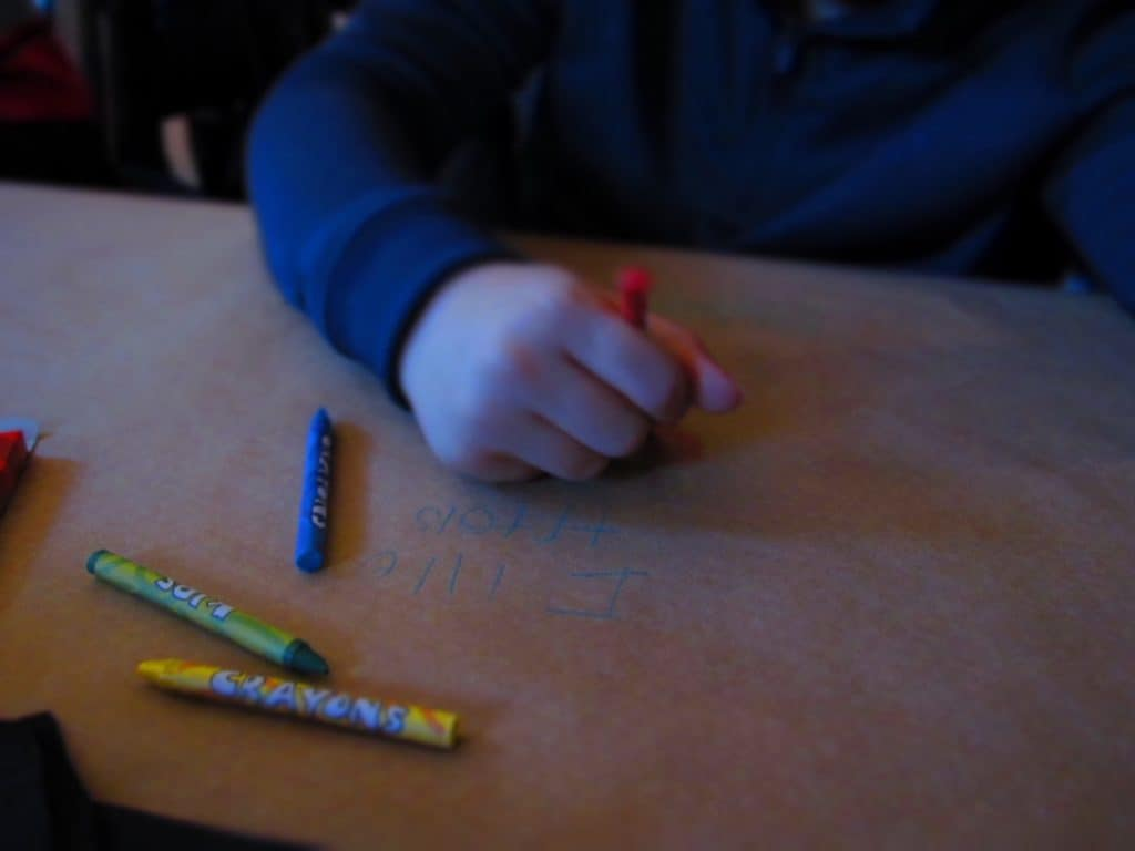Kids of all ages get a kick from coloring on the paper tablecloths at Harvey's in Union Station.