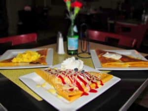 An assortment of crepes can be ordered at Chez Elle.