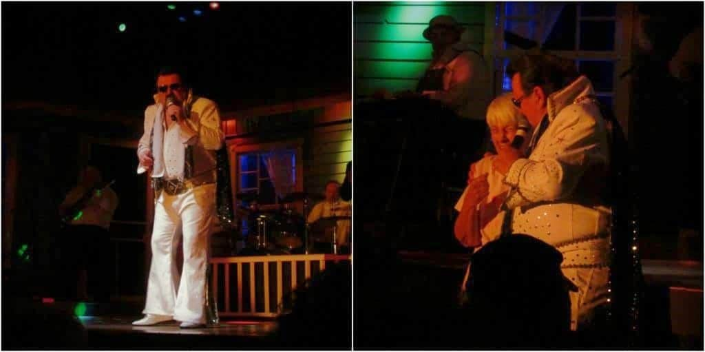 Elvis makes an appearance and even interacts with the audience.