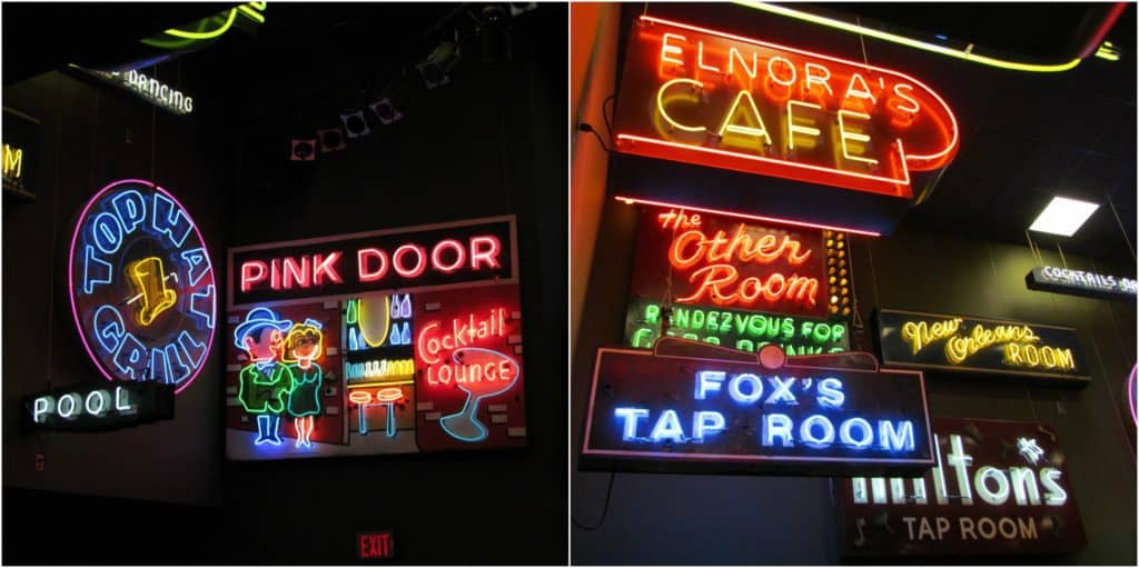 Neon signs from various historic jazz clubs offer bright, glowing displays.