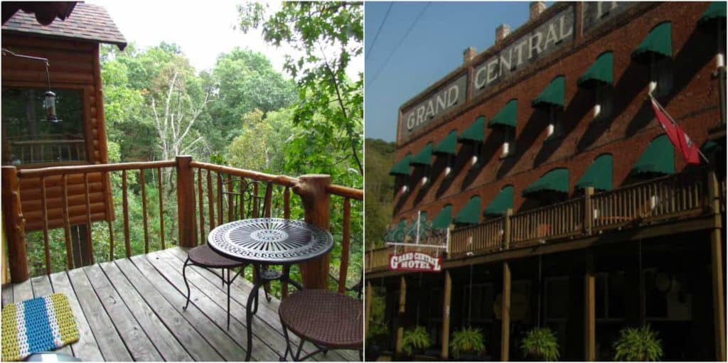 Two of the lodging options in Eureka Springs.