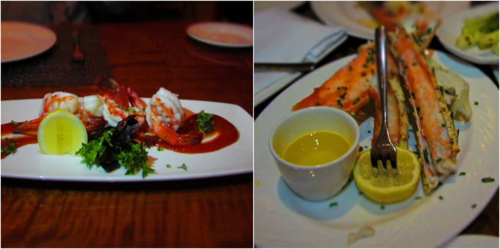 Seafood options include colossal shrimp cocktail, and Alaskan king crab legs.