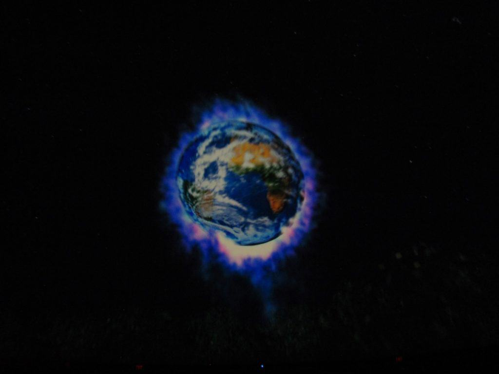 A vision of earth burns through the screen at Gottlieb Planetarium in Union Station.