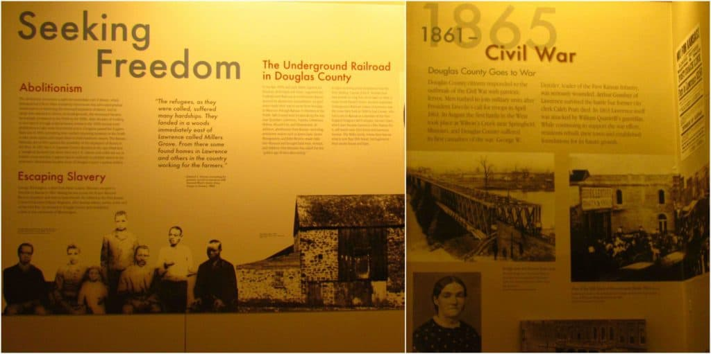 Displays at the Watkins Museum of History help showcase the social atmosphere that swirled near the Kansas and Missouri border during the years around the Civil War.