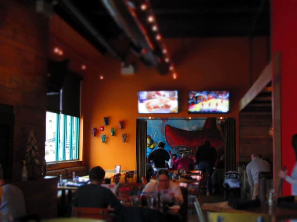 Coco Bolos features vrightly colored walls designed to cheer up the place, and create a party atmosphere.