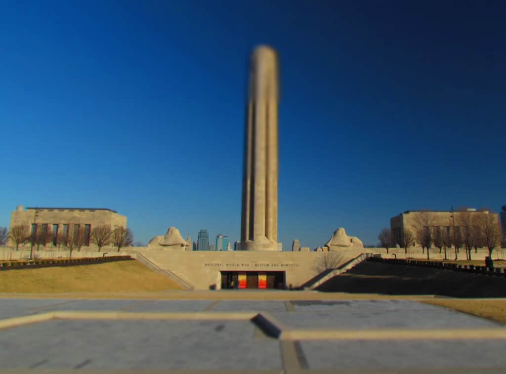 The entrance to the National World War 1 Museum in Kansas City, Missouri.