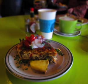 A slice of quiche is a filling breakfast option.
