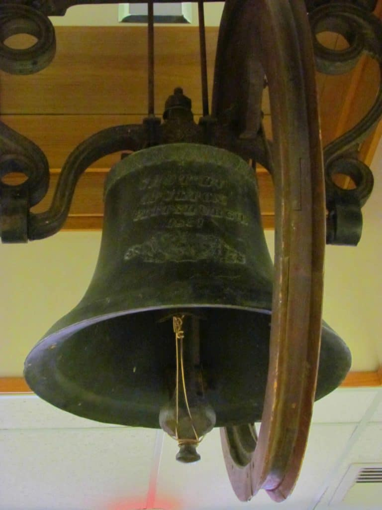 A bell that was part of the collection from the original settlers of Manhattan, Kansas.