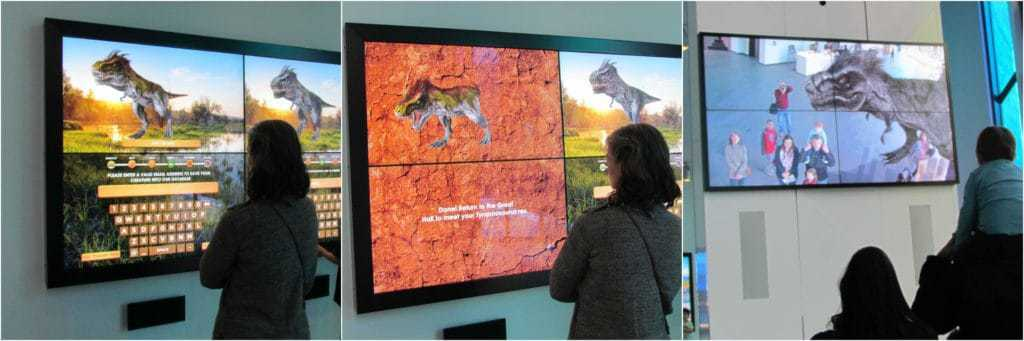 One of the authors designs their own dinosaur in a digital lab, and then sets it free in the virtual lobby.