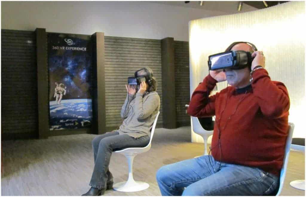 The authors experience virtual reality for the first time.