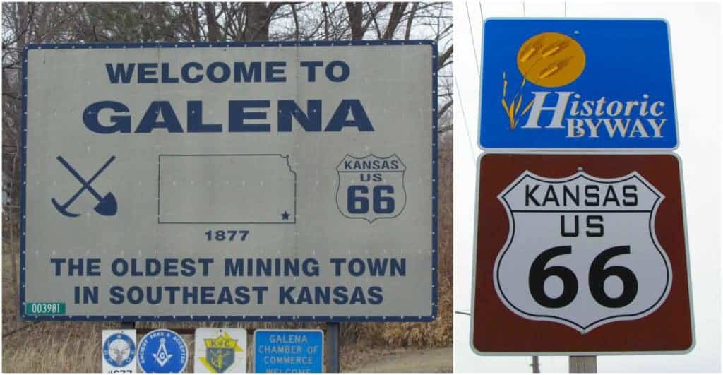 Galena, Kansas is the oldest mining town in Southeast Kansas, and lies on the Route 66 path in Kansas.