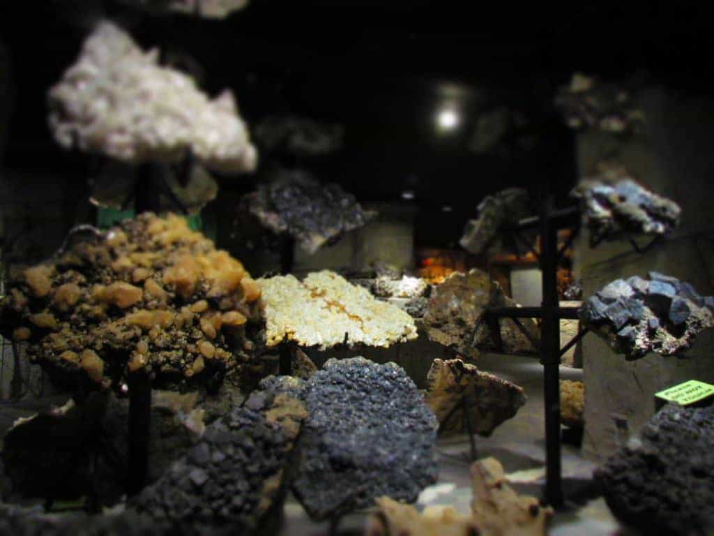A variety of mineral samples are displayed at the Joplin Mining Museum.
