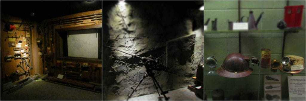A trio of photos show the various tools and equipment used during mining operations.