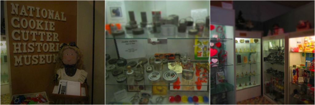 The cookie cutter display has items from many years of baking history.