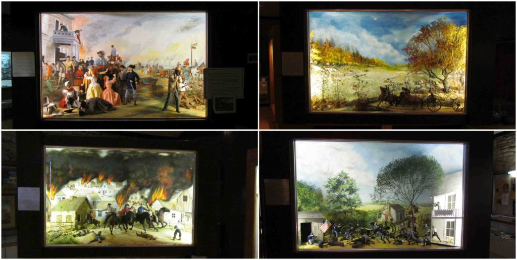 Artistically designed dioramas show important scenes from events around the Civil War in Missouri.