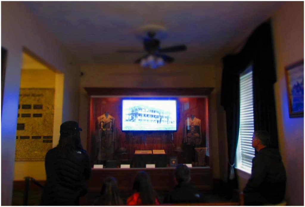 Visitors enjoy an introductory video that explains the history of the Jefferson Barracks.
