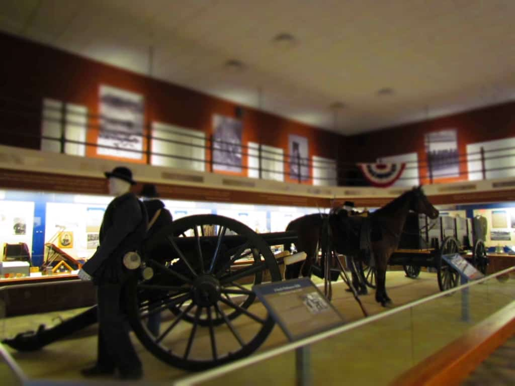 Displays of military equipment stand in a place of honor in the Missouri Civil War Museum.