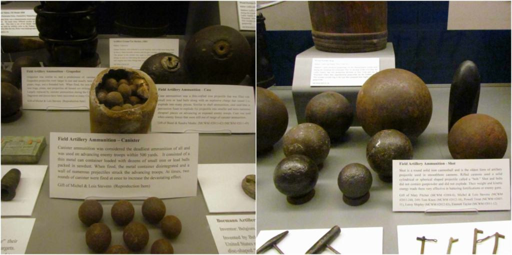 Artillery shells are part of the artifacts on display in the exhibits at the Missouri Civil War Museum.