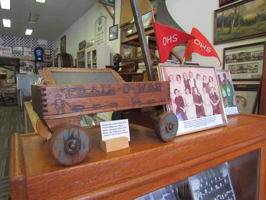 A welcoming display features items specific to Osawatomie past.