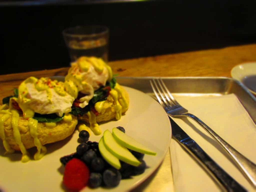 The Eggs Benedict is an artful presentation that tastes as good as it looks.