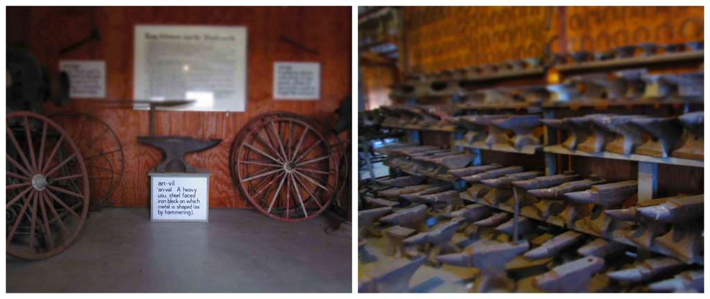 A building filled with anvils highlights the importance of blacksmiths to prairie towns.