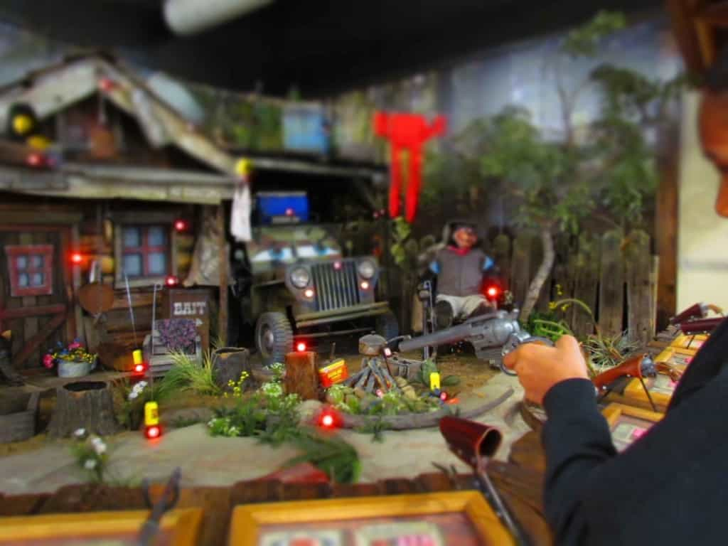 A shooting gallery offers a fun diversion from shopping.