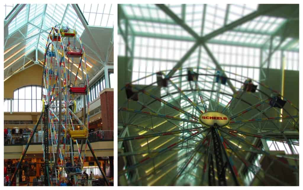 a sixty-five foot Ferris wheel holds center court in Scheels.