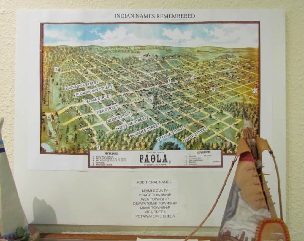 A map shows how many of the street names in Paola refer to the various Indian tribes who once populated the area.