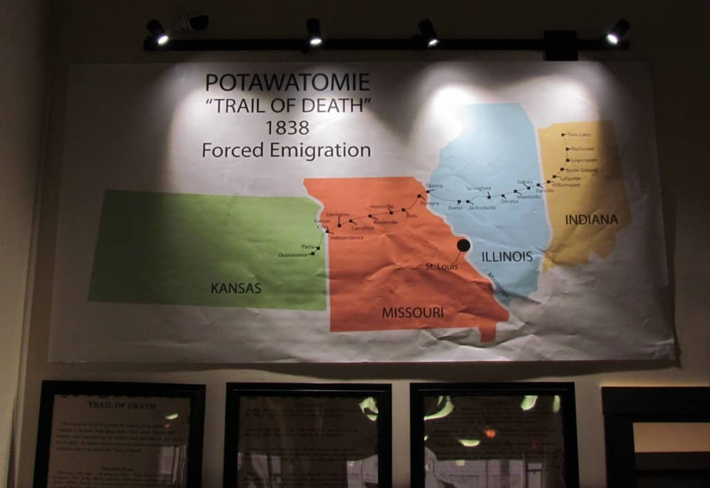 """A banner shows the path of the """"Trail of Death"""" forced march that the Potawatomie Indians were forced to take."""