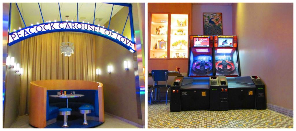 Special features at the Peacock Diner include skeeball machines and the Carousel of Love booth.