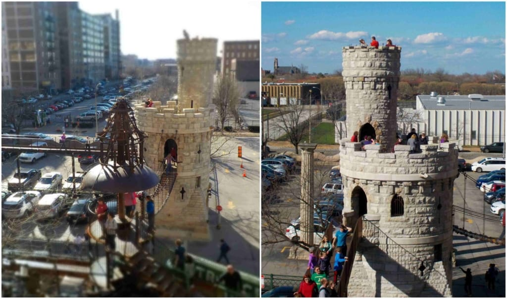 A repurposed castle turret invites visitors to explore its multiple levels.