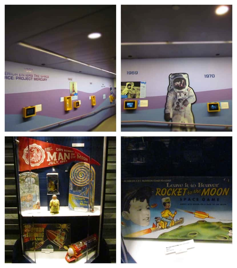 The Space Race is memorialized in a timeline from the 1950's and 1960's.