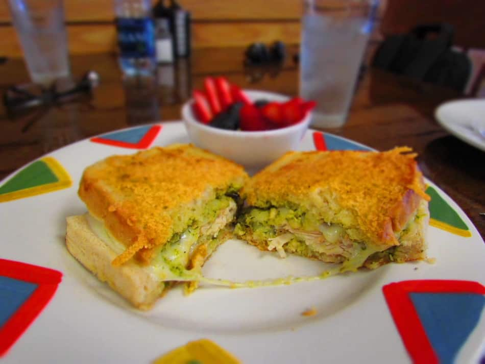 The Pesto Grilled Cheese is a gooey and delicious sandwich loaded with chicken.