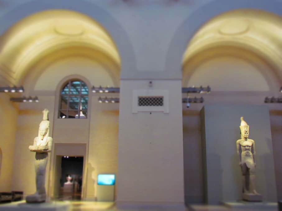 Two of the three statues that were too tall to fit in the traveling exhibit area.