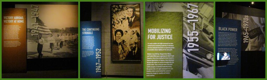 A timeline shows the progression of the struggle against segregation and discrimination in St. Louis.