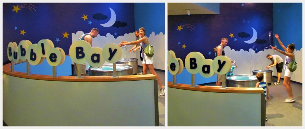 In Bubble Bay visitors can make huge oversize bubbles with the hoops on hand.