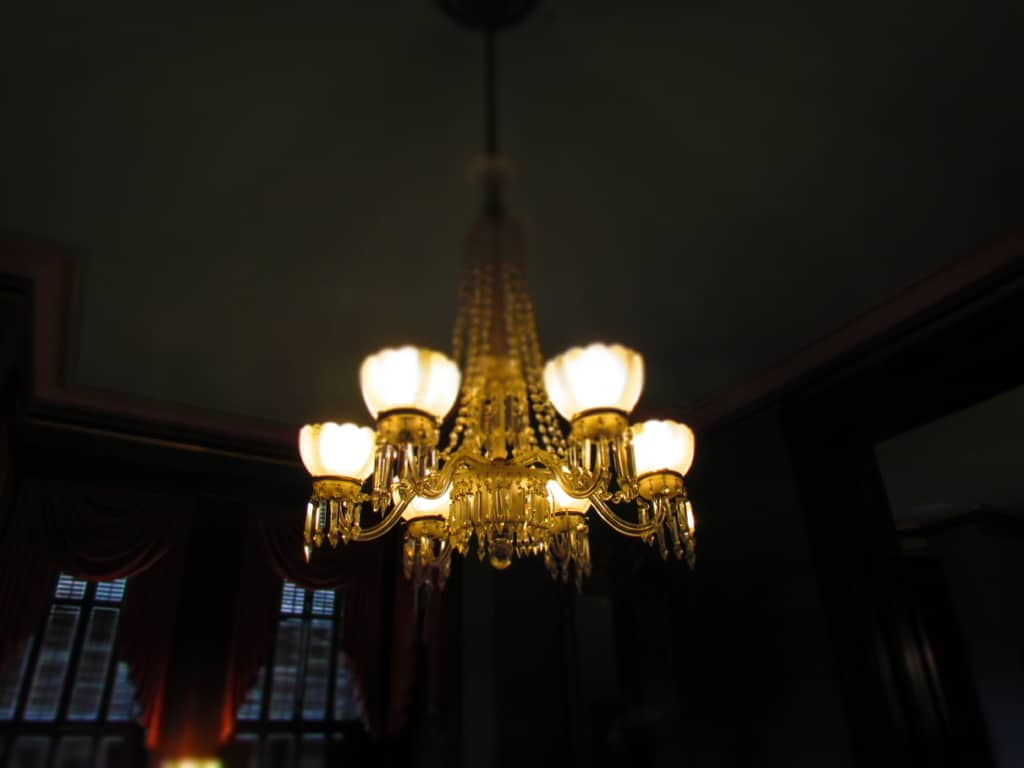 A chandelier that was originally destined for the White House resides in the Vaile Mansion.