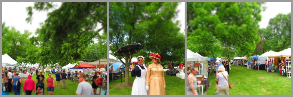 The grounds of the Vaile Mansion come alive during the Strawberry Festival , as many vendors sell their goods.