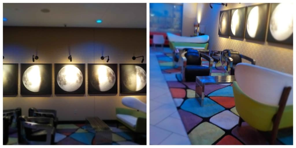 The space theme continues inside the lobby of the Moonrise Hotel in St. Louis, Missouri.