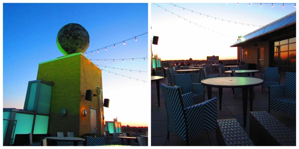 The rooftop bar offers an outdoor venue to gather for a drink and conversation.