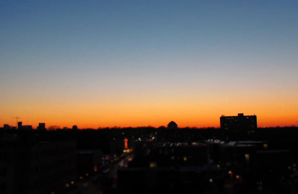 The setting sun was easily viewed from the rooftop lounge at the Moonrise Hotel.