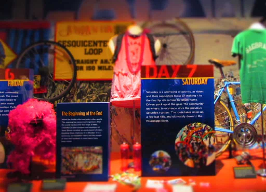 A display focusing on the annual seven-day bike ride across Iowa contains many artifacts and pieces of memorabilia.