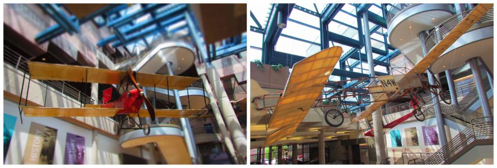 Early airplanes are visible in the lobby of the State Historical Museum of Iowa in Des Moines.