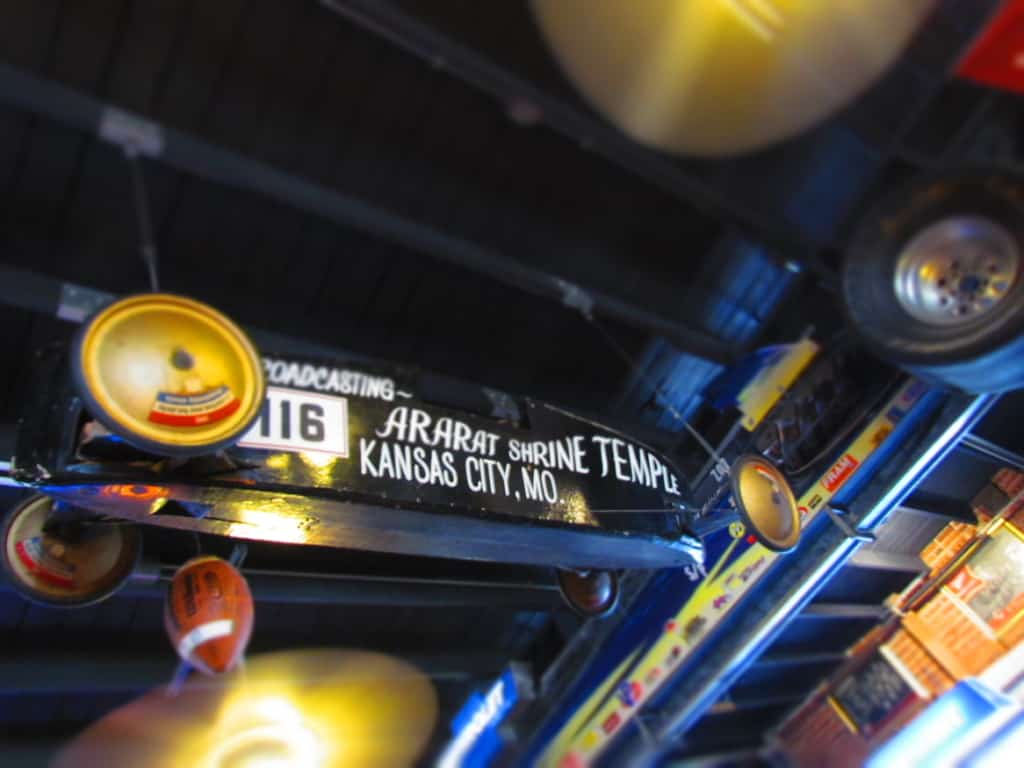 Be sure to look up to see more memorabilia hanging from the ceiling.