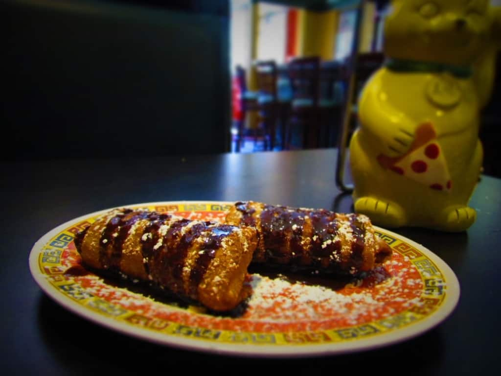 Raspberry Cream Cheese filled egg rolls is another unusual Treat at Fong's Pizza.