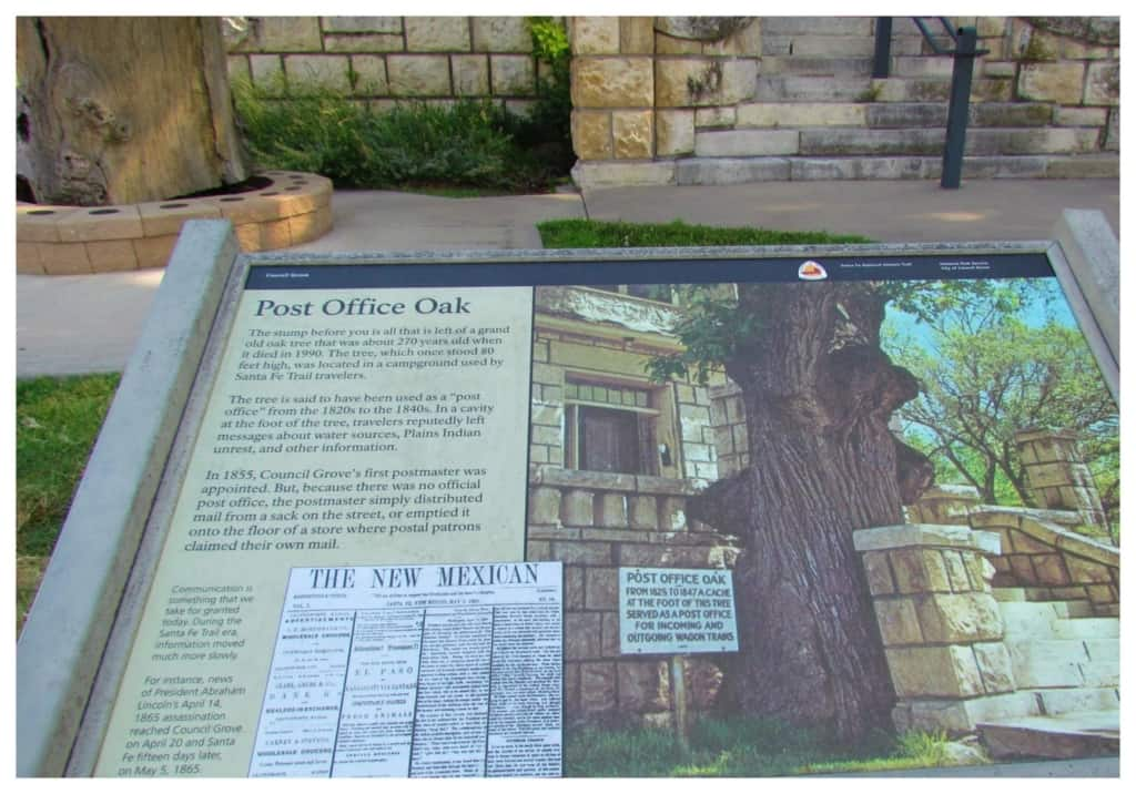 The placard tells the story about the Post Office Oak in Council Grove, Kansas.