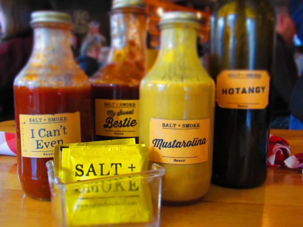 A collection of sauces are available to adjust the flavor of your food.