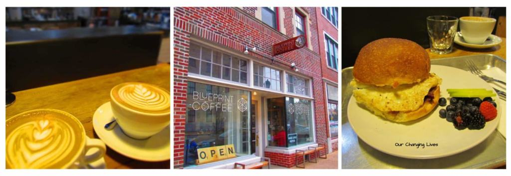 Blueprint Coffee offers unique breakfast dishes and excellent coffee.